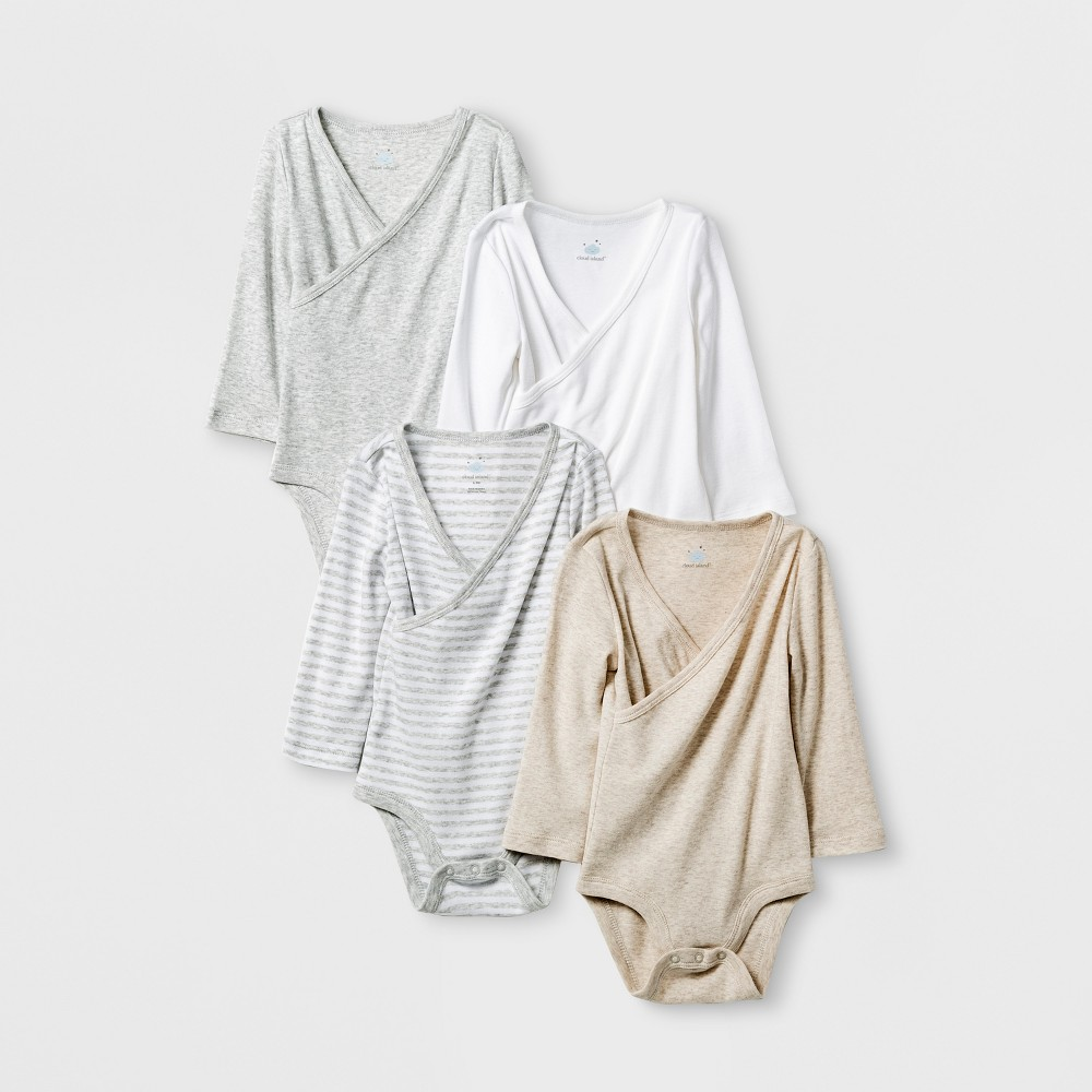 Baby 4pk Long Sleeve Bodysuit Gray/White 24M - Cloud Island, Infant Unisex