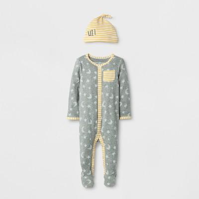Baby 2pc Moon and Stars Sleep N' Play Set Cloud Island™ - Heather Gray 0-3M