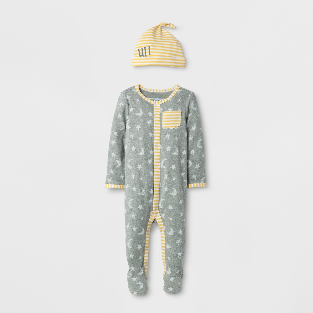 Baby 2pc Moon and Stars Sleep N Play Set Cloud Island - Heather Gray 0-3M, Infant Unisex