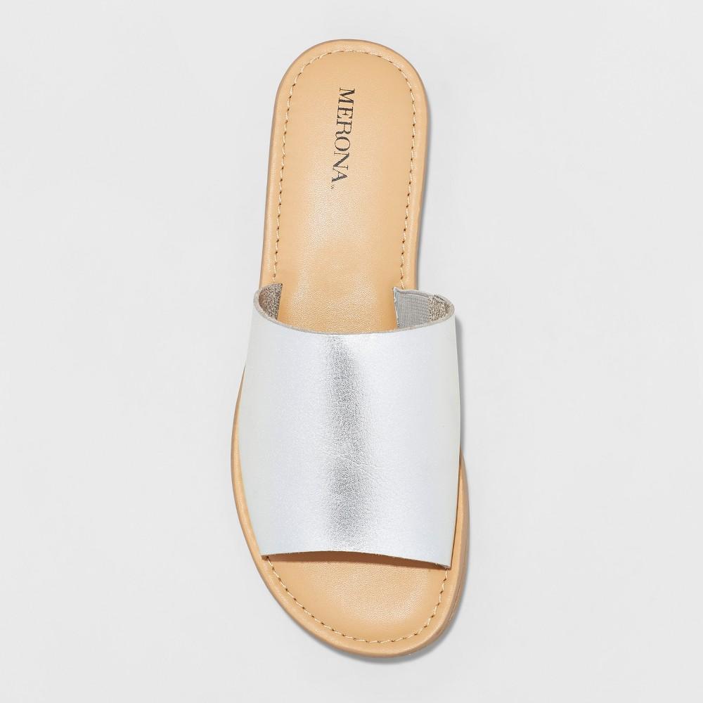 Womens Mardi Slide Sandals - Merona Silver 6.5