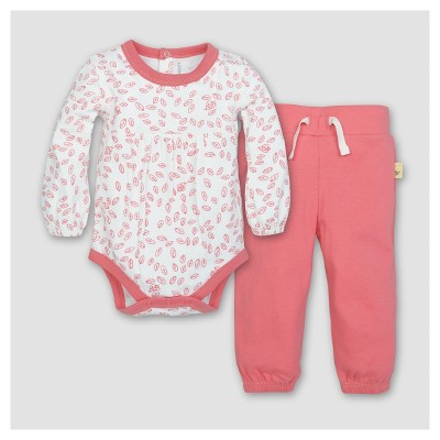Burt's Bees Baby® Girls' Organic Cotton Long Sleeve Bodysuit and Pant Set 2pc Chrysanthemum - Pink 0-3 M