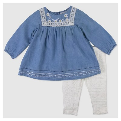 Baby Grand Signature Baby Girls' Top and Lace Leggings Set - Blue 6-9M