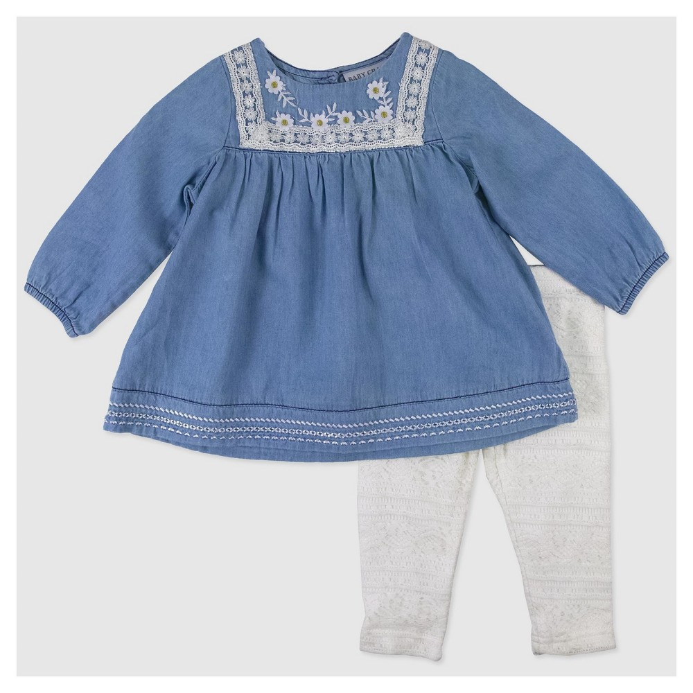 Baby Grand Signature Baby Girls Top and Lace Leggings Set - Blue 6-9M, Size: 6-9 M