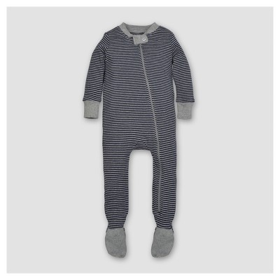 Burt's Bees Baby® Boys' Organic Cotton Long Sleeve Classic Stripe 1pc Footed Pajama Midnight - Navy 3-6 M