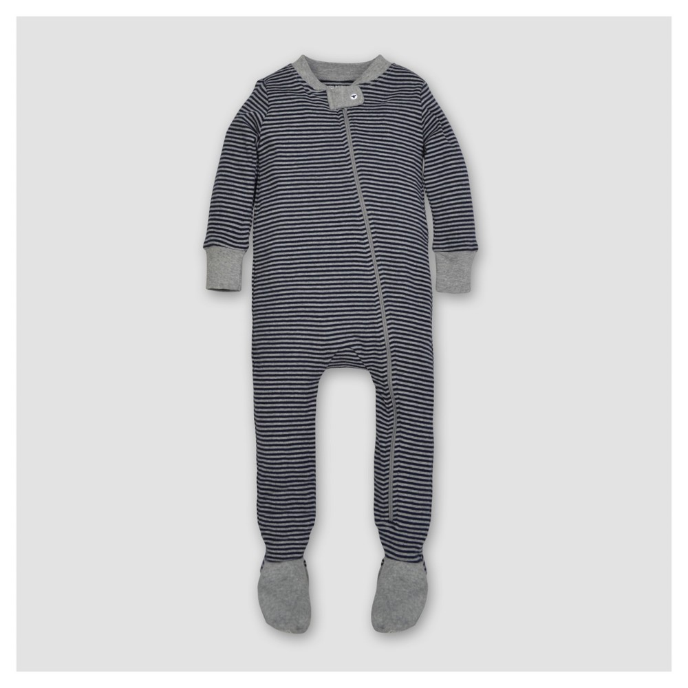 Burts Bees Baby Boys Organic Cotton Long Sleeve Classic Stripe 1pc Footed Pajama Midnight - Navy 3-6 M, Blue