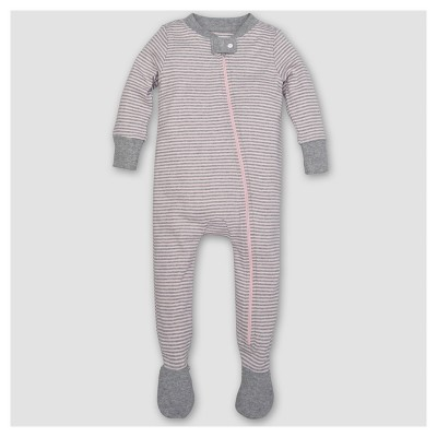 Burt's Bees Baby® Girls' Organic Cotton Long Sleeve Classic Stripe 1pc Footed Pajama Blossom - Pink 3-6 M