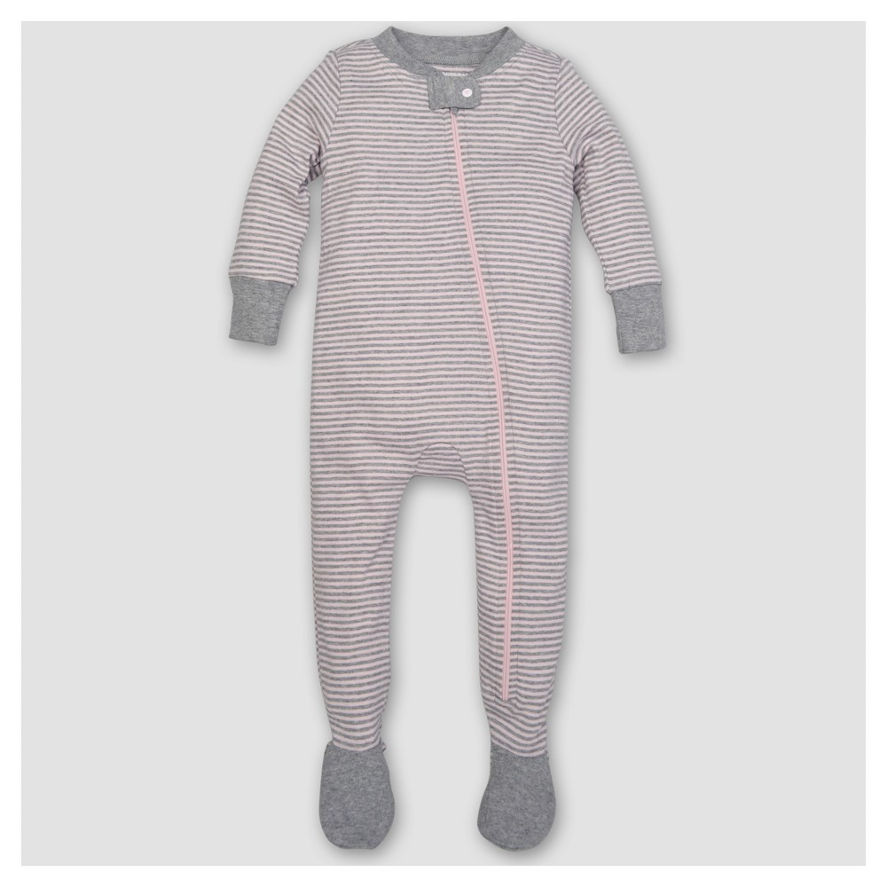 Burts Bees Baby Girls Organic Cotton Long Sleeve Classic Stripe 1pc Footed Pajama Blossom - Pink 3-6 M
