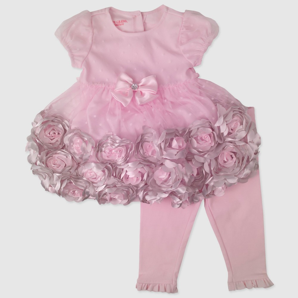 Baby Grand Signature Baby Girls Rosette Dress and Leggings Set - Pink 24M, Size: 24 M