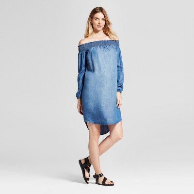 Maternity Off the Shoulder Denim Dress - Isabel Maternity™ by Ingrid & Isabel® Blue XS
