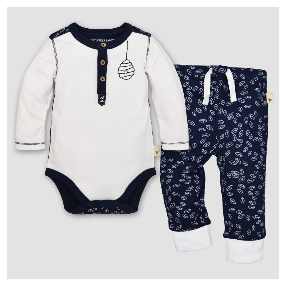 Burts Bees Baby Boys Organic Cotton Long Sleeve Henley Bodysuit & Pant Set 2pc Midnight - Navy 24 M, Blue