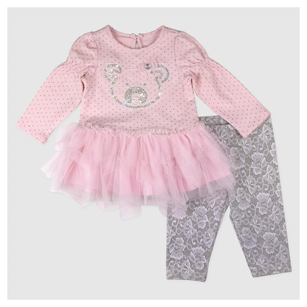 Baby Grand Signature Baby Girls Panda Face Glitter Dress - Pink 18M, Size: 18 M
