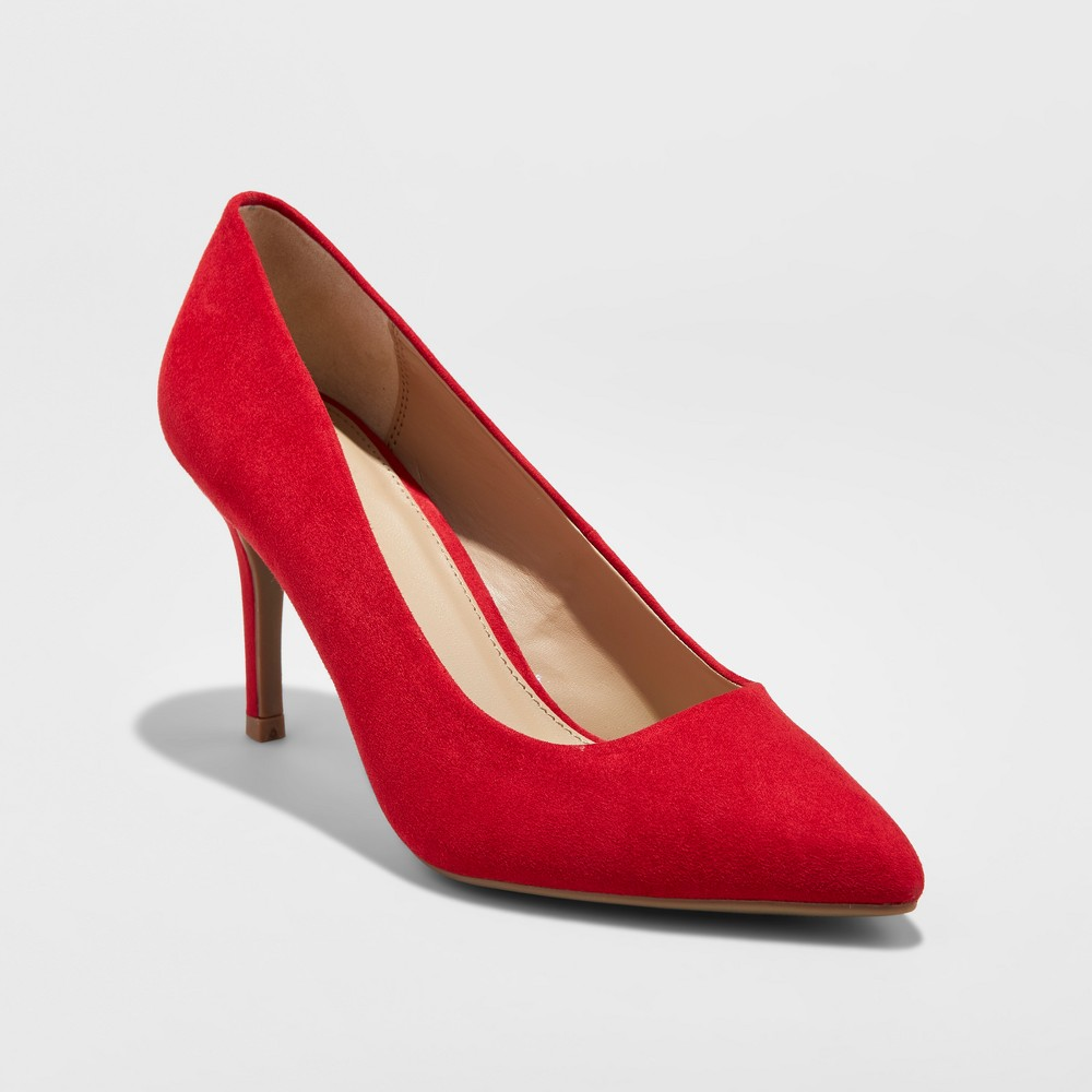 Womens Gemma Wide Width Pointed Toe Pumps - A New Day Red 5W, Size: 5 Wide
