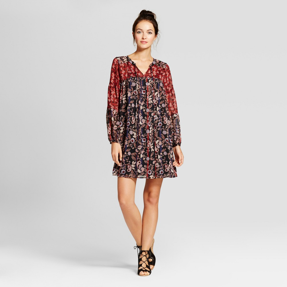 Womens Embellished Printed Shift Dress with Slip - Knox Rose XS, Black