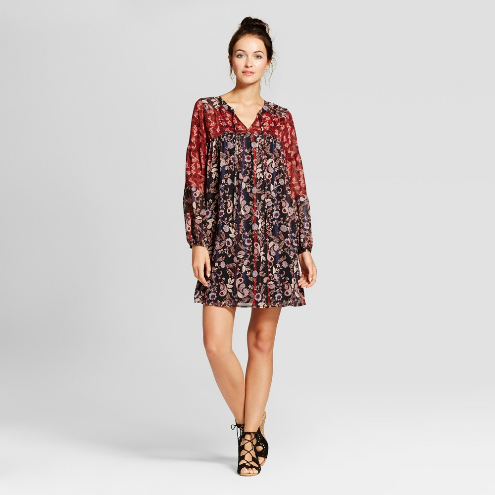 Womens Embellished Printed Shift Dress with Slip - Knox Rose S, Black