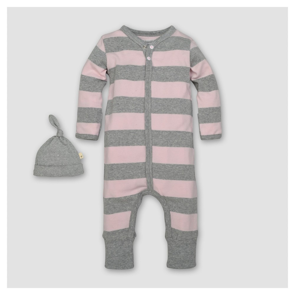 Burts Bees Baby Girls Organic Cotton Long Sleeve Rugby Stripe Coverall & Hat Set 2pc Blossom - Pink 0-3 M