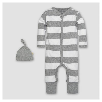 Burt's Bees Baby® Organic Cotton Long Sleeve Rugby Stripe Convertible Coverall & Hat Set 2pc - Heather Gray 0-3 M