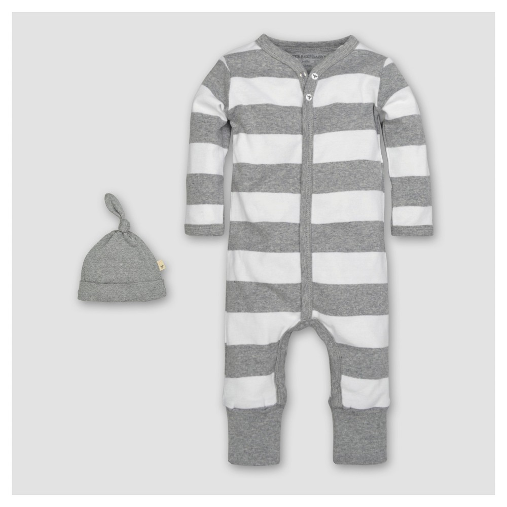 Burts Bees Baby Organic Cotton Long Sleeve Rugby Stripe Convertible Coverall & Hat Set 2pc - Heather Gray 0-3 M, Infant Unisex