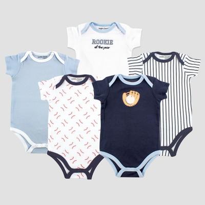 Luvable Friends Baby Boys' 5pk Short Sleeve Baseball Bodysuit Set - Blue 9-12M