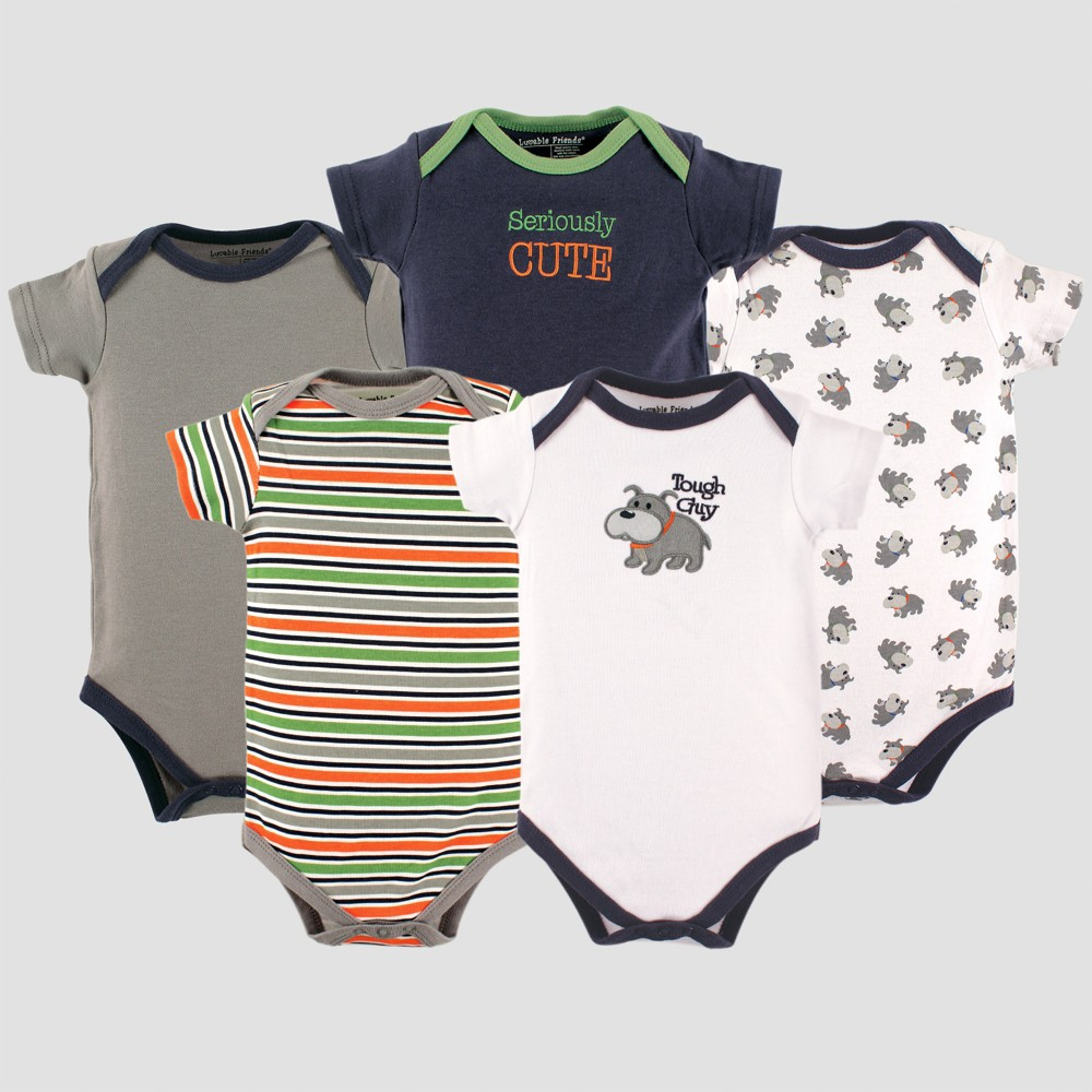 Luvable Friends Baby Boys 5pk Short Sleeve Dog Bodysuits Set - Green 0-3M, Size: 0-3 M