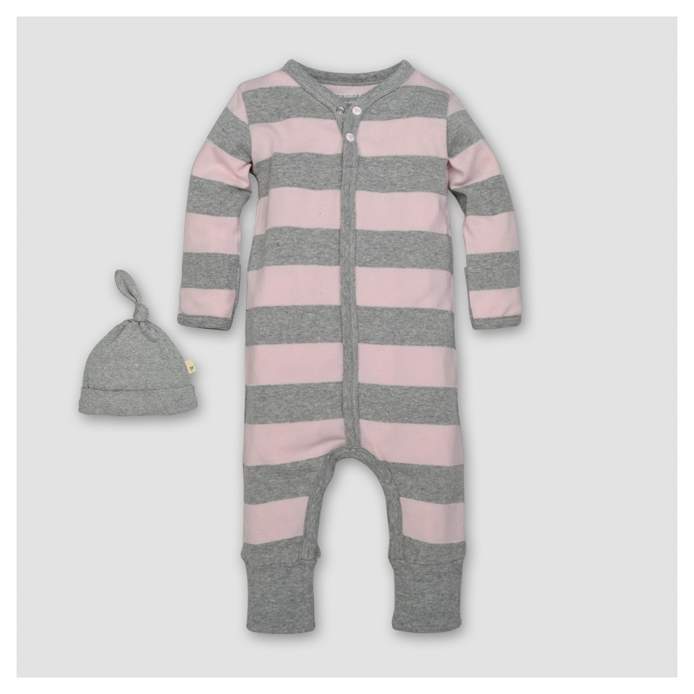Burts Bees Baby Girls Organic Cotton Long Sleeve Rugby Stripe Coverall & Hat Set 2pc Blossom - Pink 24 M