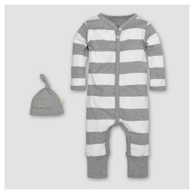 Burt's Bees Baby® Organic Cotton Long Sleeve Rugby Stripe Convertible Coverall & Hat Set 2pc - Heather Gray 18 M