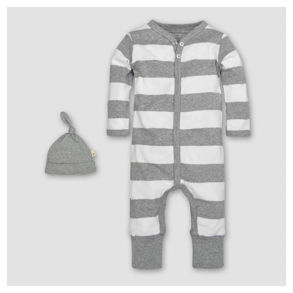 Burts Bees Baby Organic Cotton Long Sleeve Rugby Stripe Convertible Coverall & Hat Set 2pc - Heather Gray 18 M, Infant Unisex