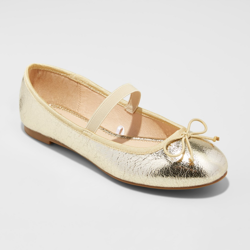 Womens Hope Elastic Band Round Toe Mary Jane Ballet Flats - A New Day Gold 5.5