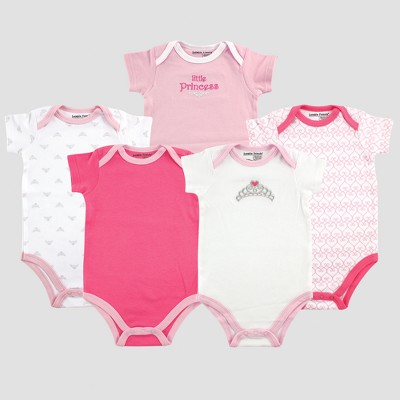 Luvable Friends Baby Girls' 5pk Short Sleeve Princess Bodysuit Set- Pink 6-9M