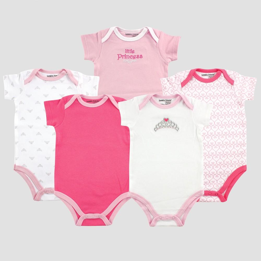 Luvable Friends Baby Girls 5pk Short Sleeve Princess Bodysuit Set- Pink 0-3M, Size: 0-3 M