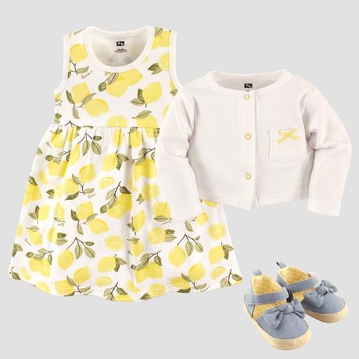 Hudson Baby Girls Cardigan Dress & Shoe Lemon Set