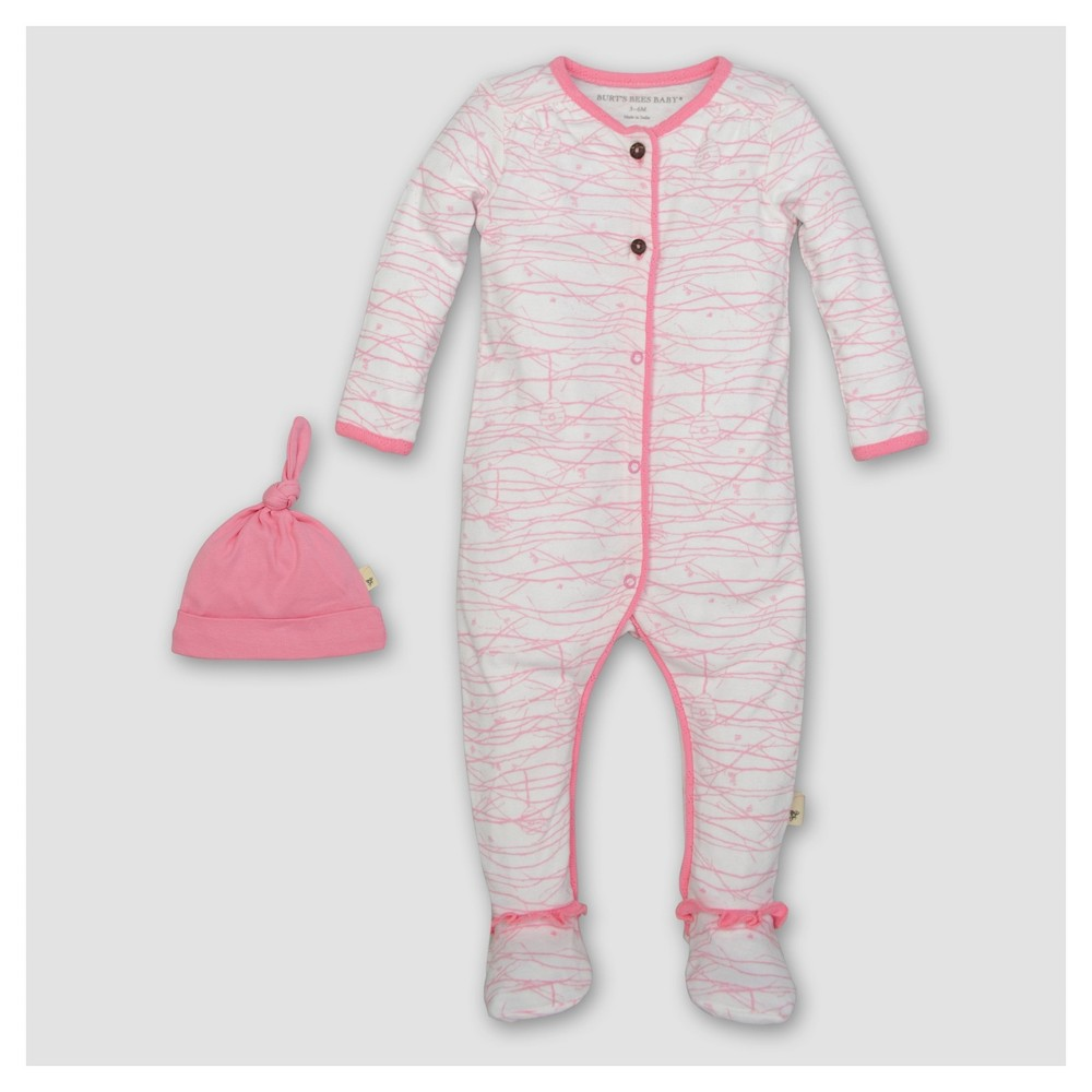 Burts Bees Baby Girls Organic Cotton Long Sleeve Footed Coverall and Hat Set 2pc Blossom - Pink 0-3 M