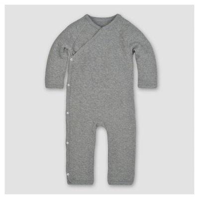 Burt's Bees Baby® Organic Cotton Long Sleeve Quilted Bee Print Kimono Coverall 1pc - Heather Gray 0-3 M