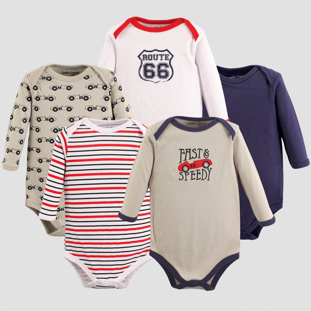 Luvable Friends Baby Boys 5pk Long Sleeve Car Bodysuit Set - Gray 0-3M, Size: 0-3 M