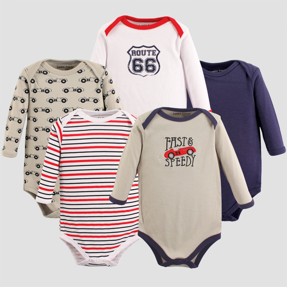 Luvable Friends Baby Boys 5pk Long Sleeve Car Bodysuit Set - Gray 3-6M, Size: 3-6 M