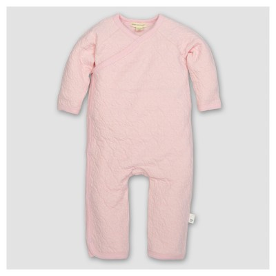 Burt's Bees Baby® Girls' Organic Cotton Long Sleeve Quilted Bee Print Kimono Coverall 1pc Blossom - Pink 6-9 M