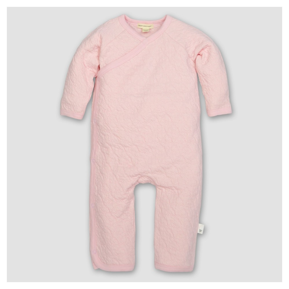Burts Bees Baby Girls Organic Cotton Long Sleeve Quilted Bee Print Kimono Coverall 1pc Blossom - Pink 6-9 M