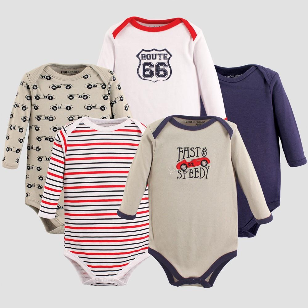 Luvable Friends Baby Boys 5pk Long Sleeve Car Bodysuit Set - Gray 6-9M, Size: 6-9 M
