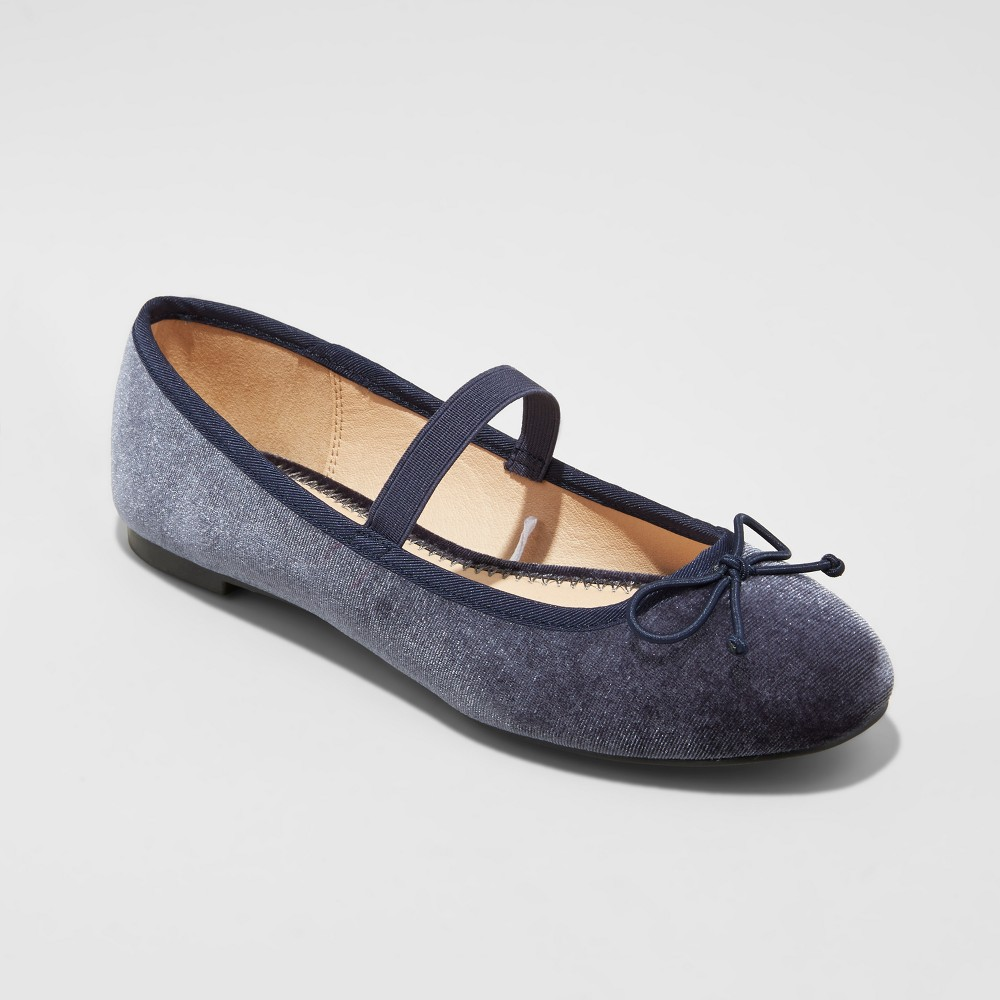Womens Hope Elastic Band Round Toe Mary Jane Ballet Flats - A New Day Gray 8.5