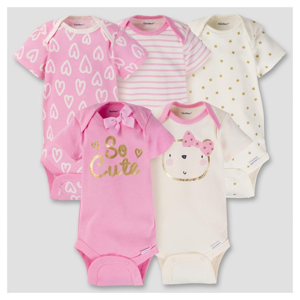 Baby Girls 5pk Onesies Bodysuit - Ballerina Pink NB - Gerber