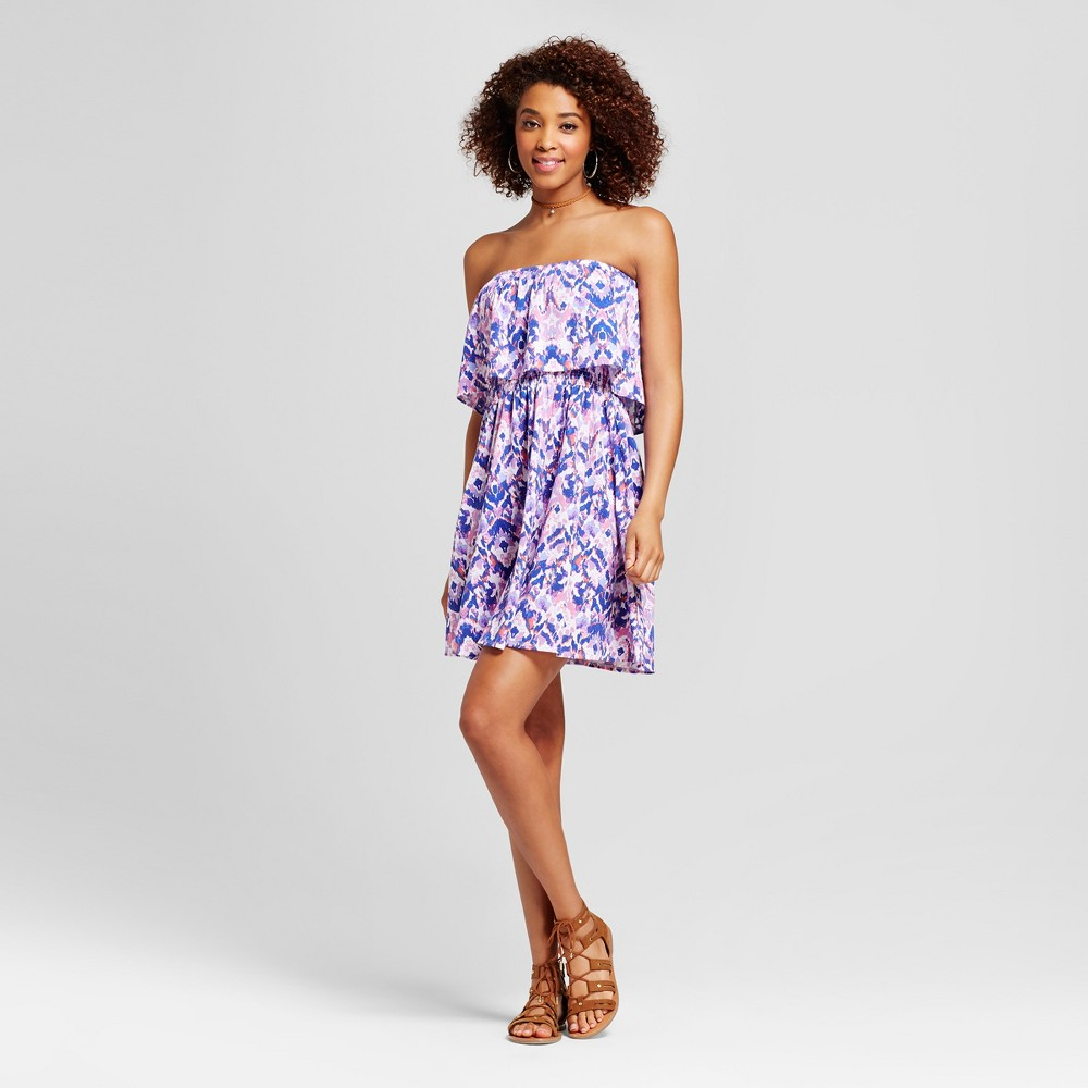 Womens Printed Strapless Ruffle Dress - Grayson Threads (Juniors) S, Multicolored