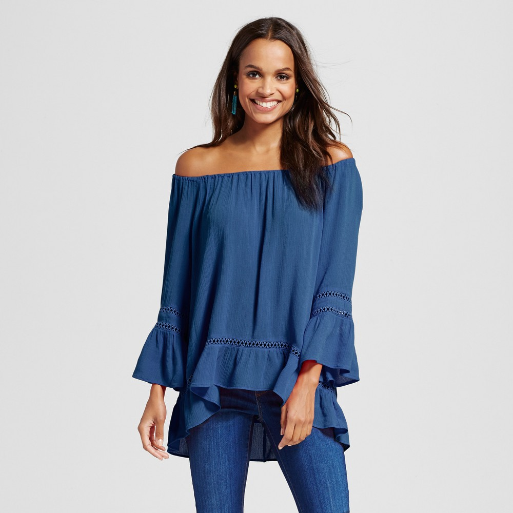 Womens Off the Shoulder Woven Blouse - JohnPaulRichard Navy XL, Blue