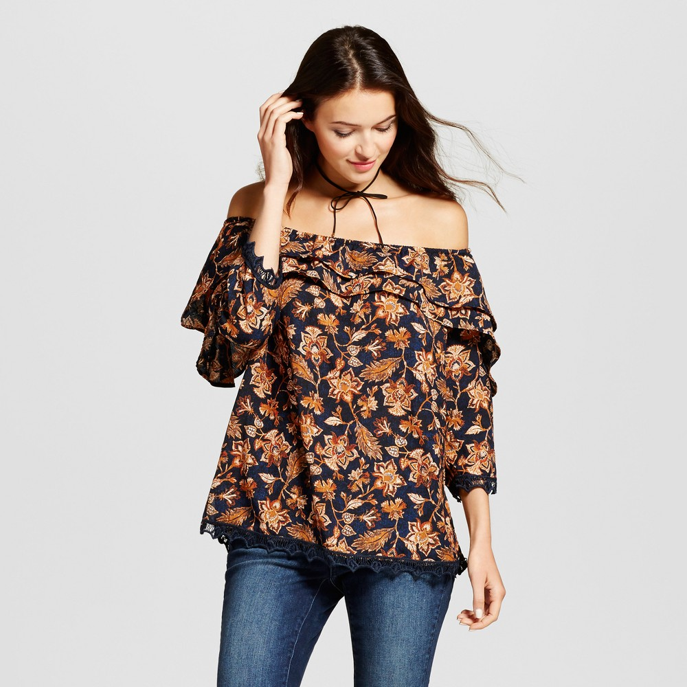 Womens Double Ruffle Sleeve Off the Shoulder Top - Knox Rose M, Blue