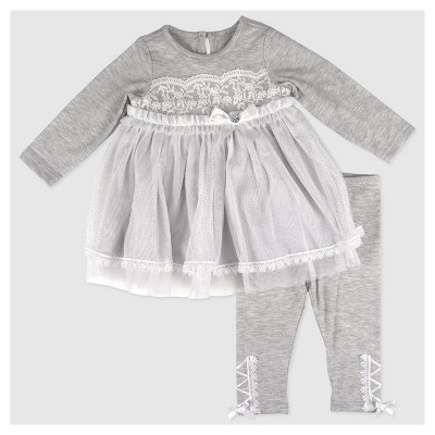 Baby Grand Signature Baby Girls' Glitter Mesh Overlay Dress and Lace Trim Leggings Set - Gray 6-9M