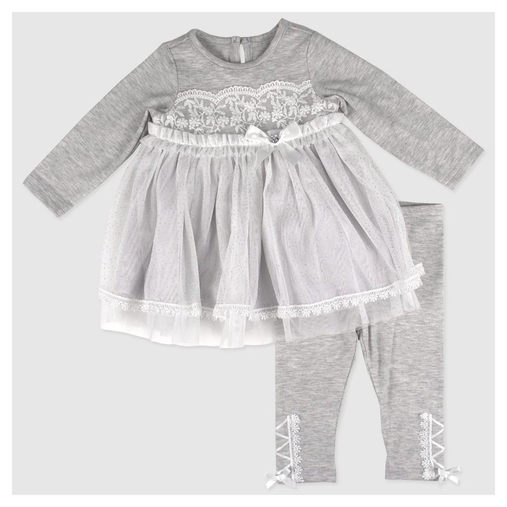 Baby Grand Signature Baby Girls Glitter Mesh Overlay Dress and Lace Trim Leggings Set - Gray 18M, Size: 18 M