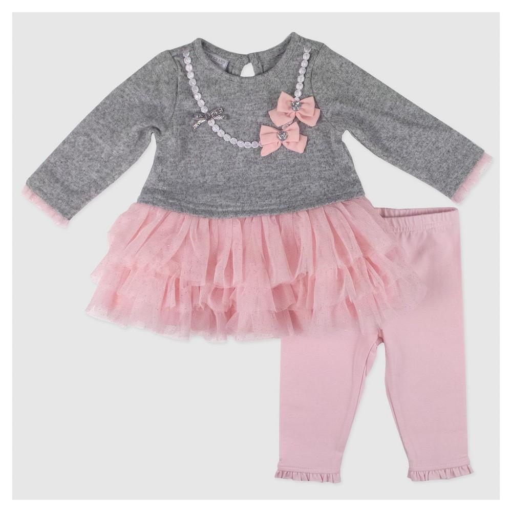 Baby Grand Signature Baby Girls Glitter Mesh Dress Set - Gray 18M, Size: 18 M