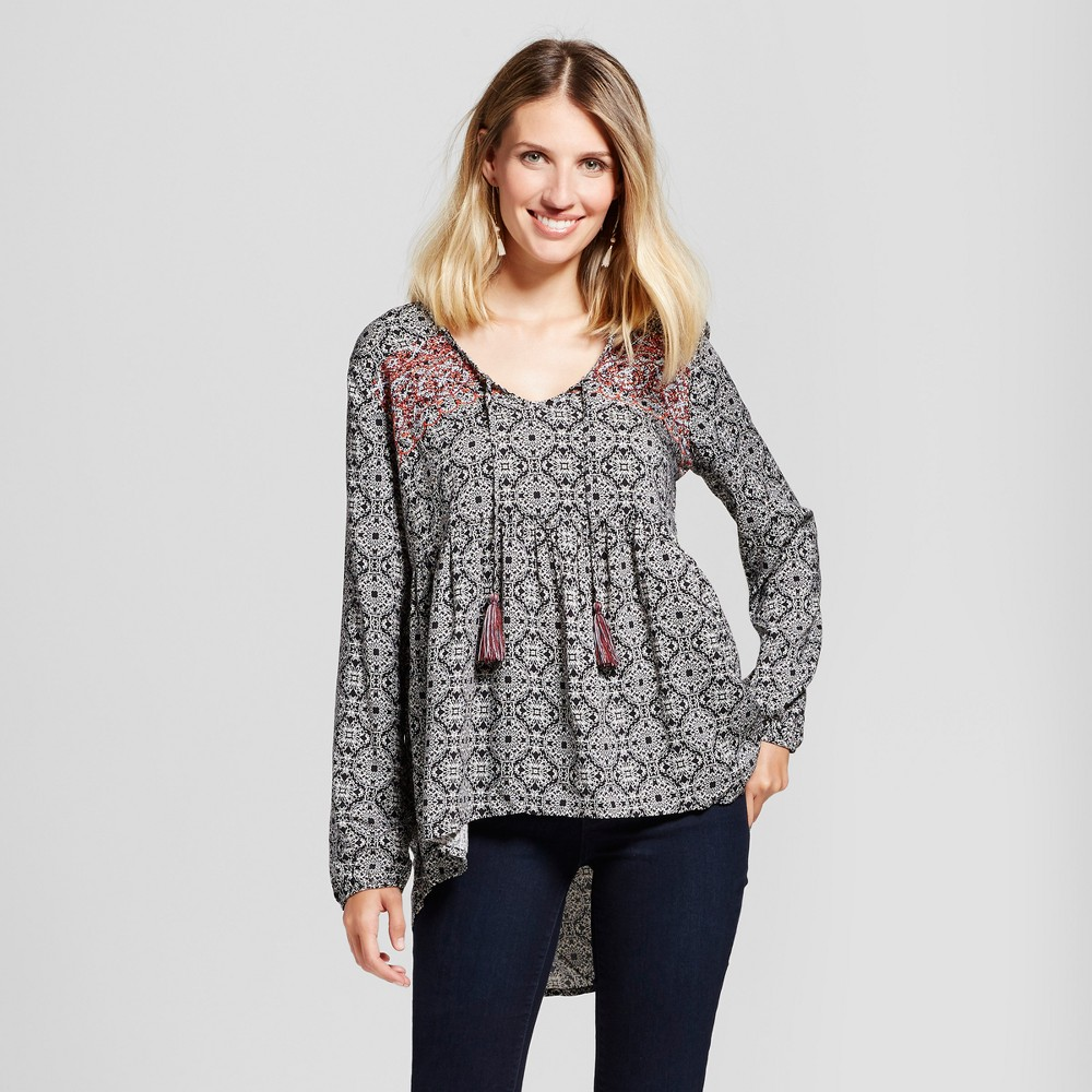 Womens Embroidered Medallion Print Top - Knox Rose L, Black