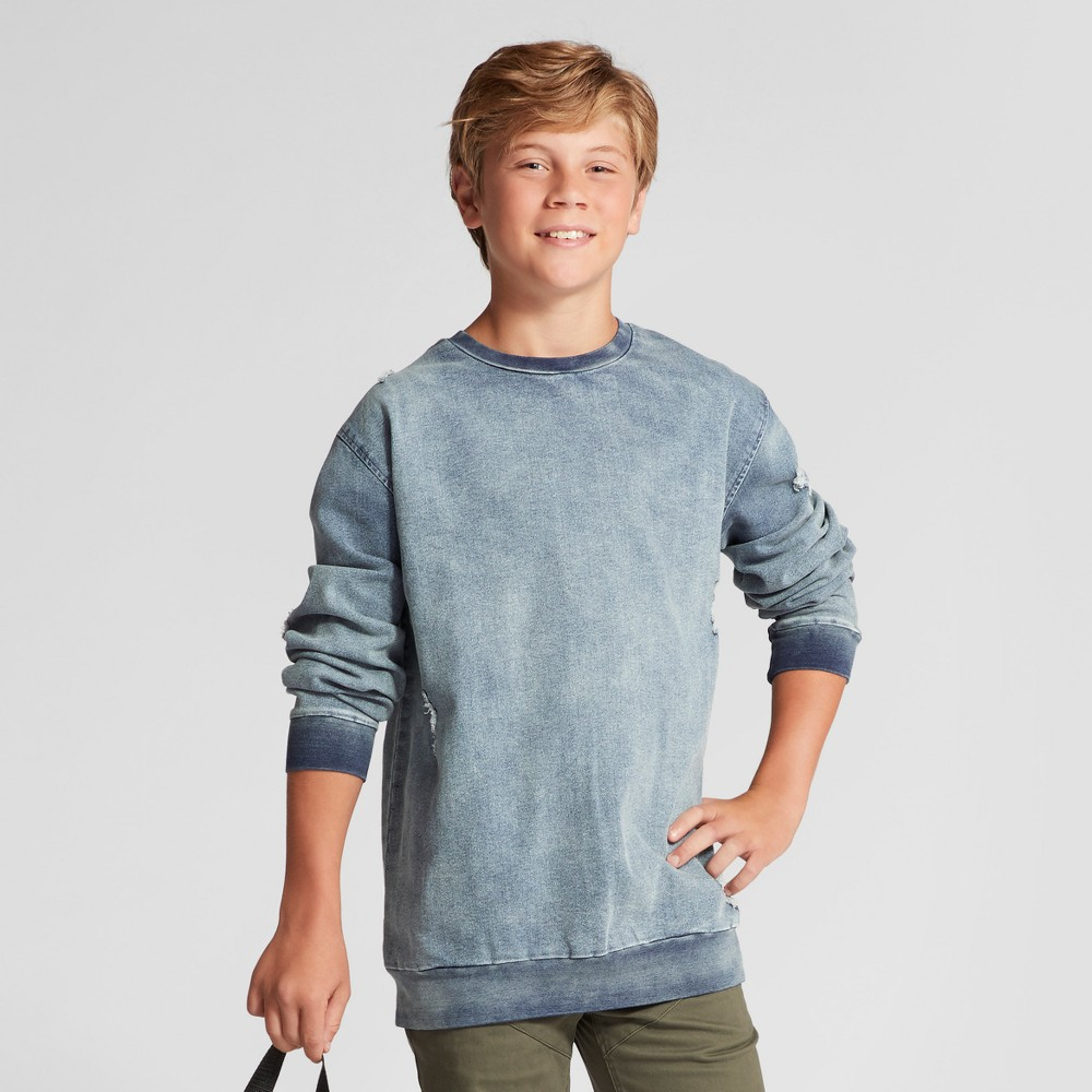 Boys Pullover Knit Denim Crew - Art Class Denim Blue XS