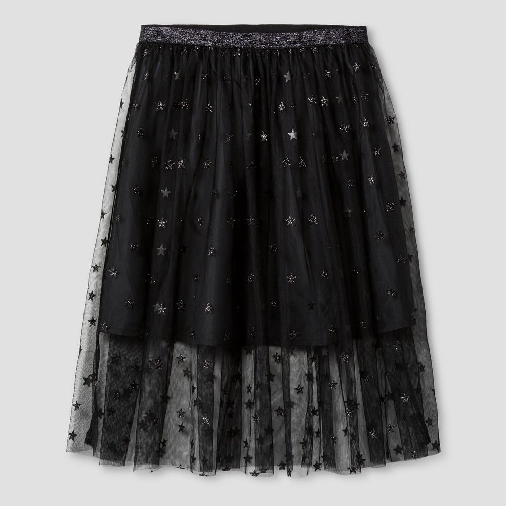 Girls Glitter Star Print Midi Skirt - Cat & Jack Black L