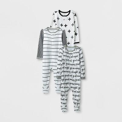 Baby 3pk Sleep N' Play Set Cloud Island™ - Black/White Preemie