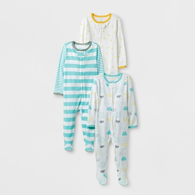 Baby 3pk Sleep N' Play Set Cloud Island™ - Aqua/White 0-3M